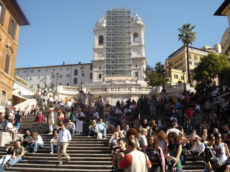 Trinit dei Monti e relativa scalinata verso piazza di Spagna