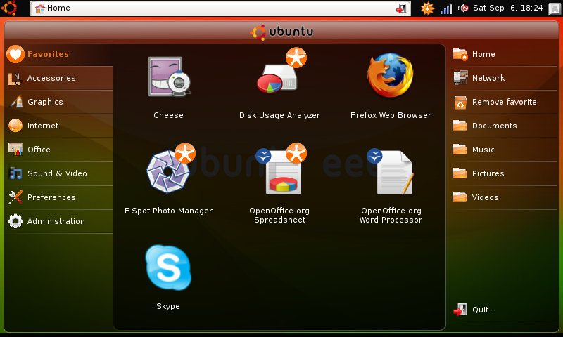 Ubuntu eee 8.04.1 (Netbook remix interface screenshot)