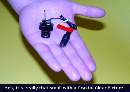 Wireless micro camera suited for R/C vehicles (http://www.helihobby.com/html/micro_video_camera.html)