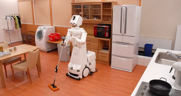 Household robot cleaning the floor