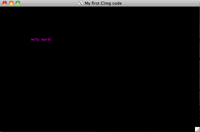 "CImg ""Hello World!"" application running on Mac OS X Snow Leopard through X11"