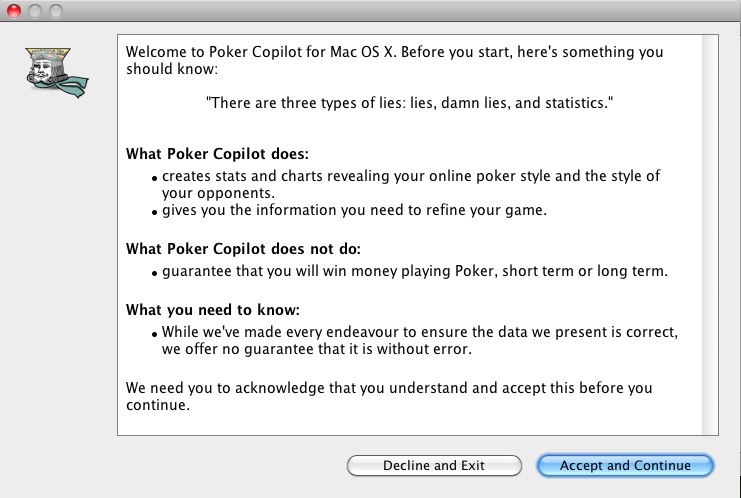Poker Copilot: splashscreen explaining why don't believe to statistics