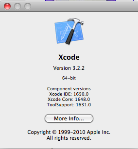 Xcode 3.2.2 64-bit version - splash screen