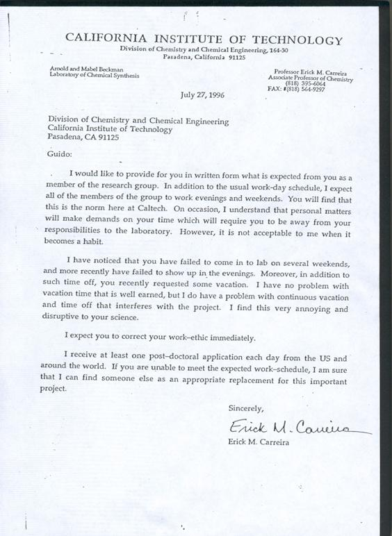 Erick M. Carreira - Letter to a chemistry post-doc
