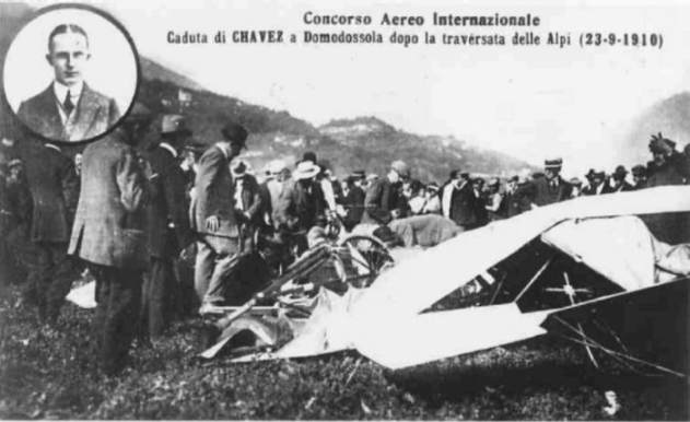 Geo Chavez - the remainings of his plane after the crash