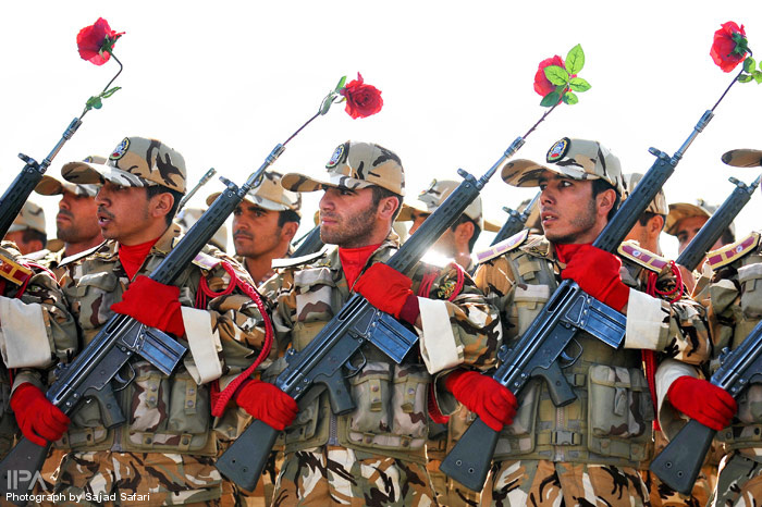 Iranian Military Parade 2010 - Flowers inside the rifles