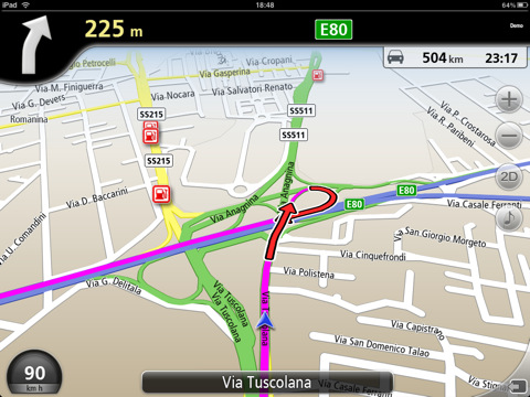 Navmii for iPad (screenshot with the Italian map)