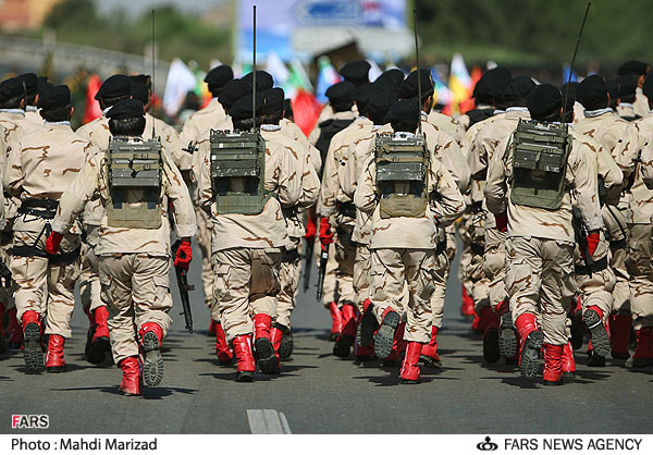 Iranian Military Parade 2010 - Soldiers marching in red boots